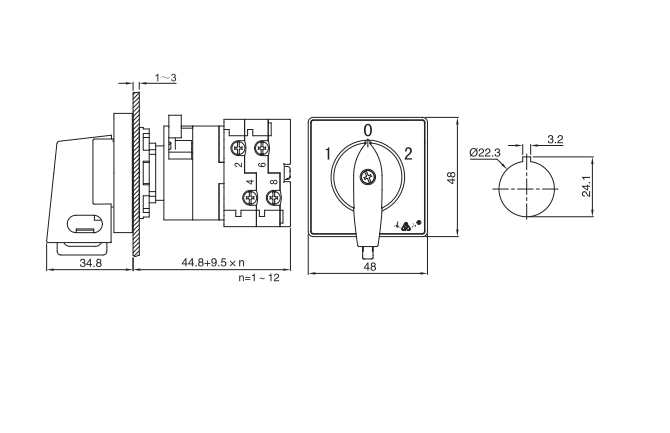 LW38D-16/CS installation size
