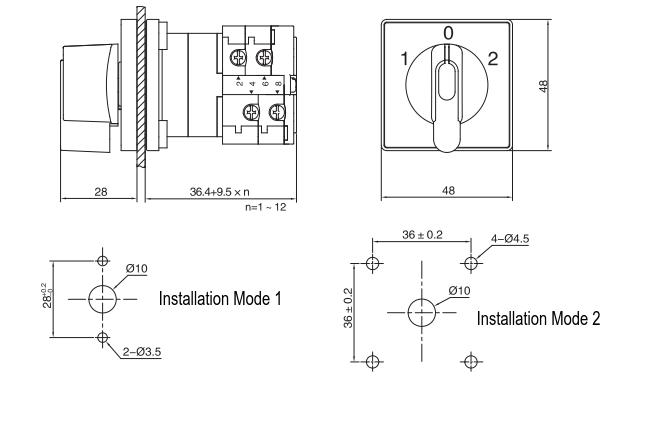 LW38D-16/*-N installation size